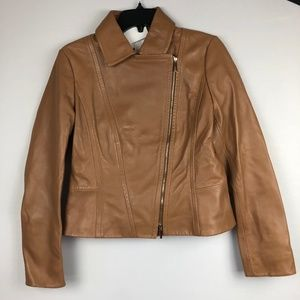 Hugo Boss Leather Jacket with Asymmetric Zipper